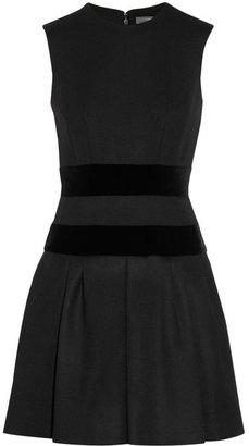 Alexander McQueen Velvet-trimmed wool-blend dress