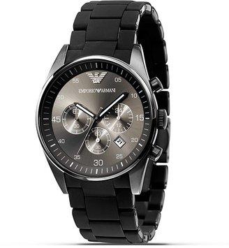 Emporio Armani Black Rubber Wrapped Bracelet Watch, 43 mm
