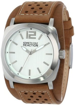 Kenneth Cole REACTION Unisex RK1330 Street Silver Case Silver Dial Brown Biker Cuff Strap Watch $32.95 thestylecure.com