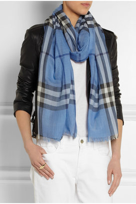 Checked wool and silk-blend scarf