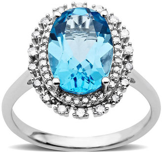 Lord & Taylor Blue Topaz and Diamond Ring in 14 Kt. White Gold