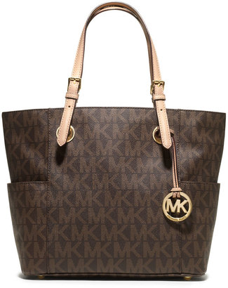 MICHAEL Michael Kors Logo-Print Signature Monogram Tote Bag, Brown $198 thestylecure.com