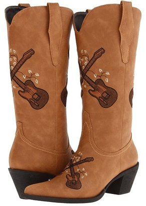 Roper Guitar Boot (Black Faux Leather/Guitar Embroidery) Cowboy Boots