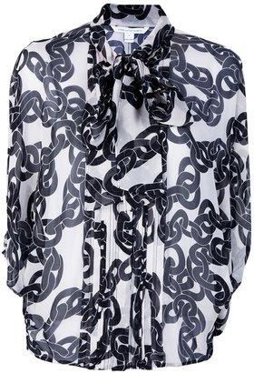 Diane von Furstenberg chain print sheer blouse