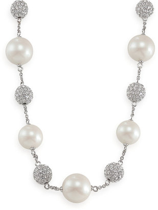Carolee Necklace, Glass Pearl and Crystal Fireball Illusion
