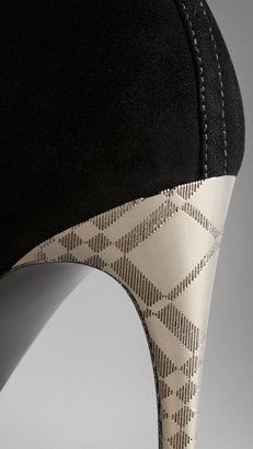 Burberry Embossed Check Heel Suede Ankle Boots