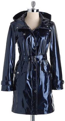Ellen Tracy Metallic Shine Trench Coat