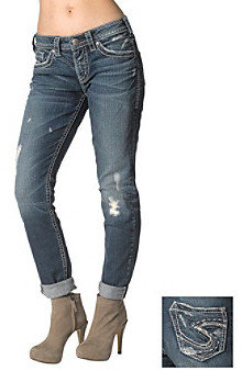 Silver Jeans Co. Lola Boyfriend Straight Fit Mid Rise Destructed Jeans