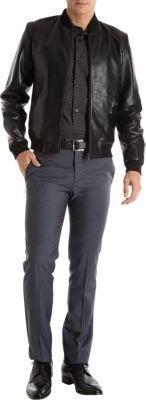 Barneys New York agnes b. x Waffle Leather Baseball Jacket