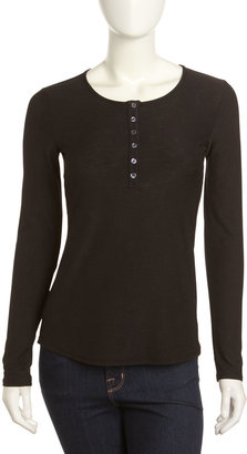 James Perse Button-Placket Long-Sleeve Top, Black
