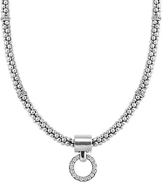 Lagos Enso Diamond Pendant Necklace on 4mm Rope Chain in Sterling Silver, 16""