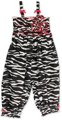 Bonnie Baby Romper, Baby Girls Zebra Party Pant Romper