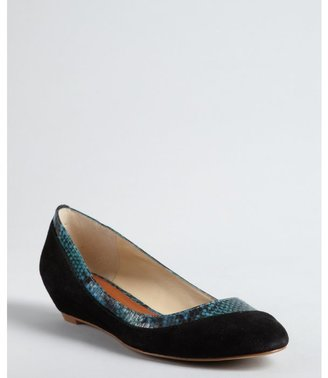 Matt Bernson black and blue suede snake embossed 'Jimi Carson' wedge pumps