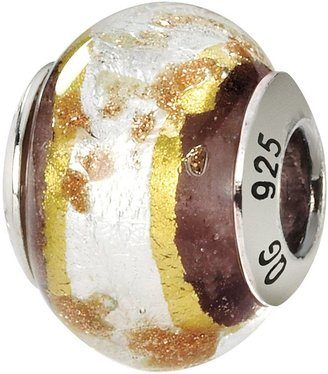 Murano Prerogatives Sterling White & Brown Italian Glass Bead