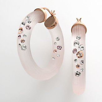 Swarovski Crystal ice 14k rose gold plated & pink lucite crystal hoop earrings - made with elements