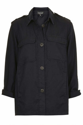 Topshop Black lightweight shirt-jacket with patch pockets and epaulette detailing. 100% lyocell. machine washable.