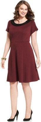 Amy Byer Plus Size Dress, Short-Sleeve Faux-Leather-Trim A-Line