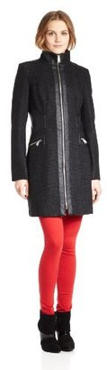 Miss Sixty Women's Textured Zip-Front Jacket With Faux-Leather Trim $34.65 thestylecure.com