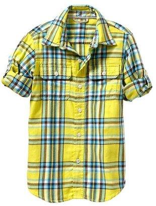 Gap Convertible plaid twill shirt