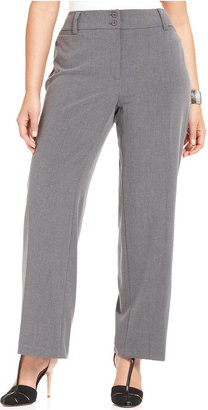 Amy Byer Plus Size Gray Stretch Suiting Pants