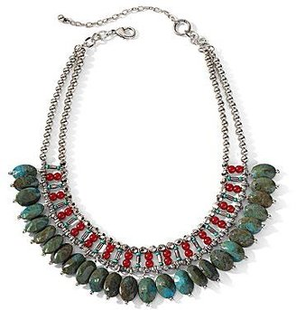 JCPenney Aris by Treska Green & Red Beaded Bib Necklace