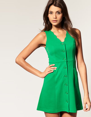 Asos Waisted Dress With Scallop Detail