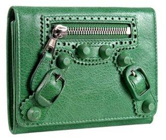 Balenciaga apple green lambskin medium wallet