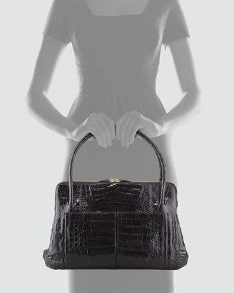 Nancy Gonzalez Linda Medium Crocodile Satchel Bag, Black Patent