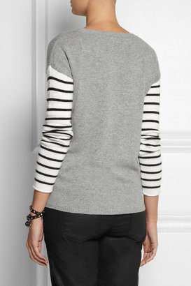 Splendid Striped-sleeve knitted sweater