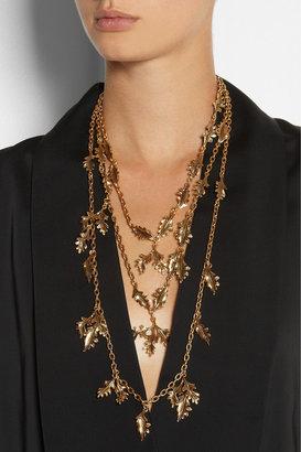Oscar de la Renta Gold-plated leaf necklace