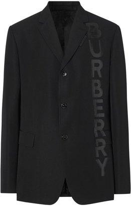 Burberry Logo Print Wool Gabardine Tailored Jacket