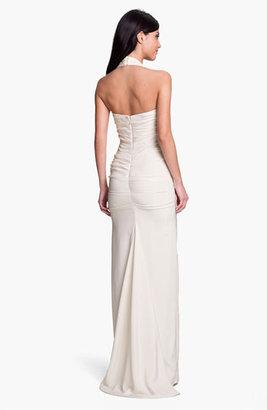 Nicole Miller Ruched Satin Halter Gown