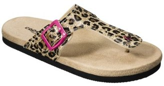 Girl's Leopard Glitter Flip Flop - Black