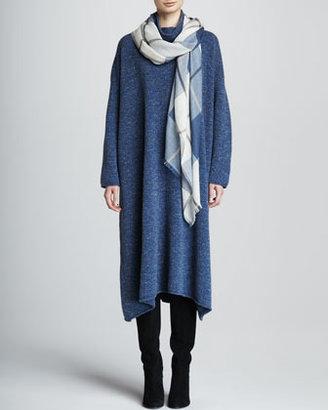 eskandar A-Line Merino Wool Monk's Dress, Denim Blue