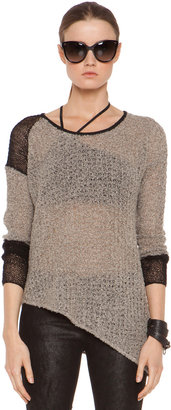 Helmut Lang Flecked Boucle Combo Pullover in Black & Beige