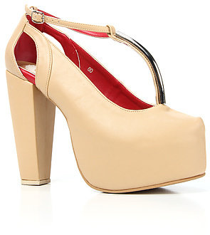 Gold Dot The Glida Mary-Jane Shoe in Beige