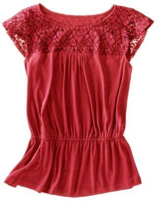 Merona Women's Short Sleeve Lace Yoke Top - Assorted Colors