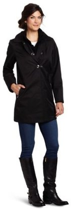 Hilary Radley Women's Clip Front Rain Coat With Knit Collared Removable Warmer