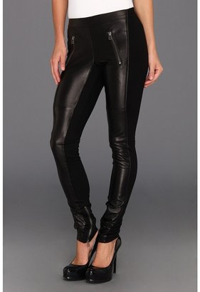 Graham & Spencer LEP3753 Ponti w/ Leather Pant (Black) - Apparel