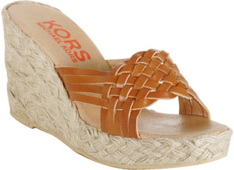 Michael Kors KORS tan woven leather 'Breeze' wedges