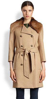 Rachel Zoe Florence Goat Fur-Trim Coat