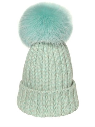 Ribbed Wool & Fox Fur Beanie Hat