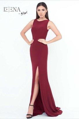Ieena for Mac Duggal - 25354 Cap Gown In Burgundy