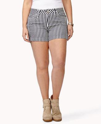Forever 21 FOREVER 21+ Striped Denim Shorts