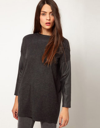 Whistles Contrast Sleeve Textured Tunic