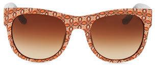 Tory Burch Geometric-Print Rectangle Sunglasses, Navy/White
