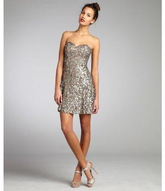 Wyatt silver and gold sequin silk strapless cocktail dress
