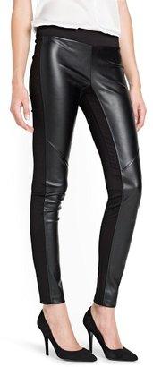 MANGO Faux leather appliqué leggings