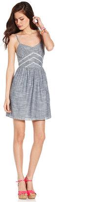 Teen Vogue Juniors Dress, Sleeveless Chambray A-Line