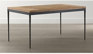 Crate & Barrel Teak Top/ Hammered Base 60x36 Dining Table